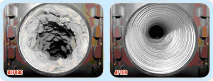 Dryer vent cleaning before and after.